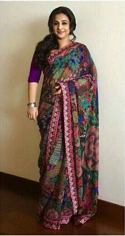 Multi Color Linen Digital Printed Saree MS-1282