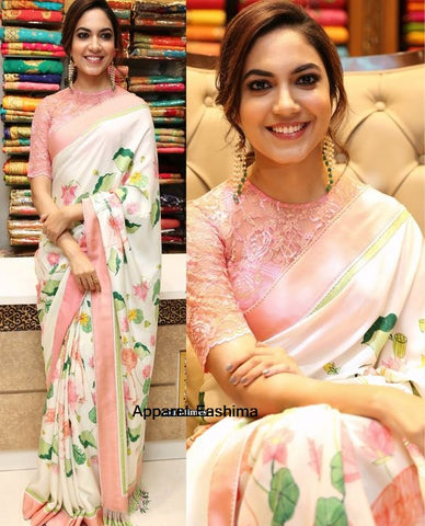 Pleasant Pink Colored Festive Wear Digital Printed Linen Saree MS-1284