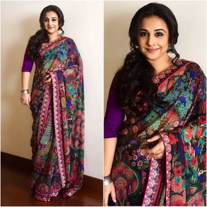 Multi Colored Casual Wear Printed Pure Linen Saree MS-1293