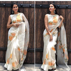 Linen Designer Digital Print Saree MS-1314