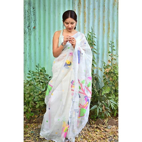 Linen Designer Digital Print Saree MS-1318