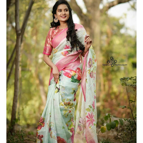 Linen Designer Digital Print Saree MS-1319