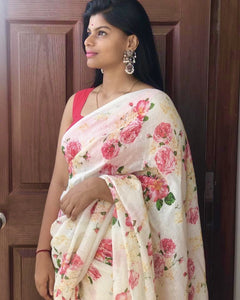 Linen Designer Digital Print Saree MS-1322