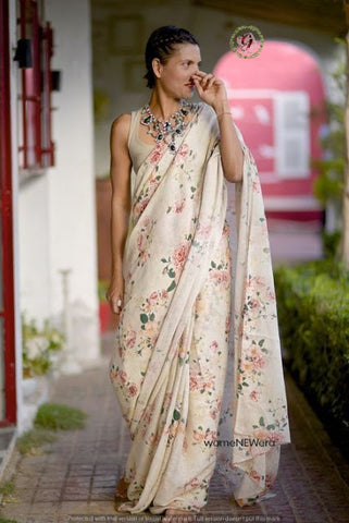 Linen Designer Digital Print Saree MS-1325