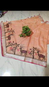 Apparel Fashima Designer Linen Printed Saree MS-1402