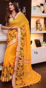 Apparel Fashima Designer Linen Printed Saree MS-1406