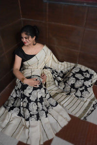 Apparel Fashima Designer Linen Printed Saree MS-1415