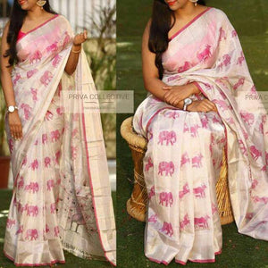 Apparel Fashima Designer Linen Printed Saree MS-1426