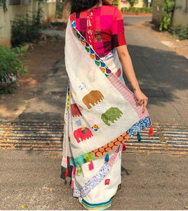 Apparel Fashima Designer Linen Printed Saree MS-1470