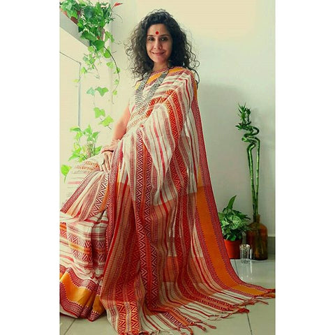 DESIGNER LINEN DIGITAL PRINT SAREE, MS-1518