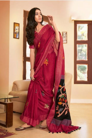 DESIGNER LINEN DIGITAL PRINT SAREE, MS-1535