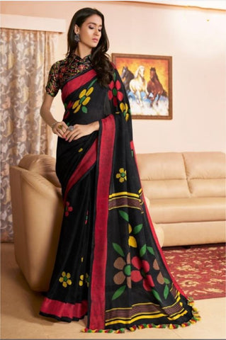 DESIGNER LINEN DIGITAL PRINT SAREE, MS-1538