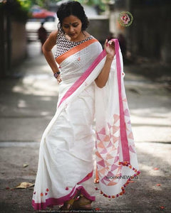 New  Designer Linen Printed Saree MS-1600