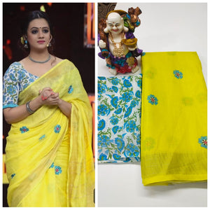 Yellow Designer Linen Printed Saree MS-1627