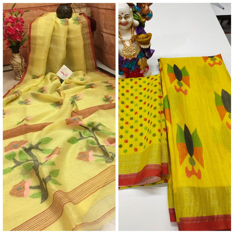 Awsome Designer Linen Printed Saree MS-1635