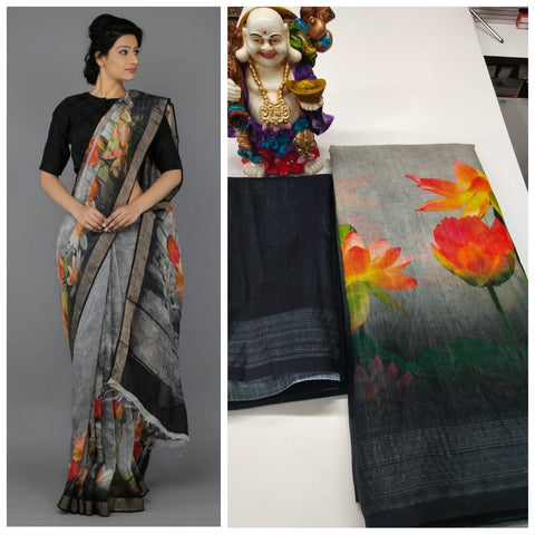 Awsome Designer Linen Printed Saree MS-1638