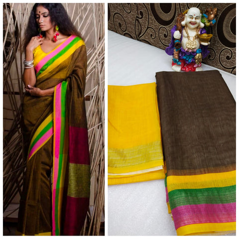 Awsome Designer Linen Printed Saree MS-1662