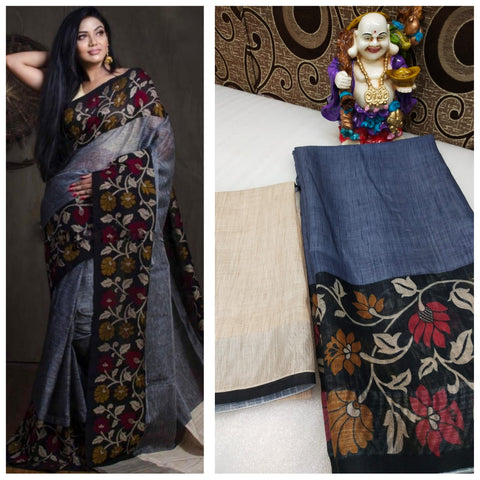 Flower  Designer Linen Printed Saree MS-1664