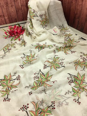 White Flower New Designer Linen Printed Saree MS-1680