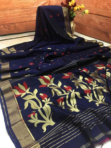 Blue Color Designer Linen Printed Saree MS-1712