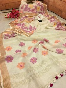 New Designer Linen Printed Saree MS-1713