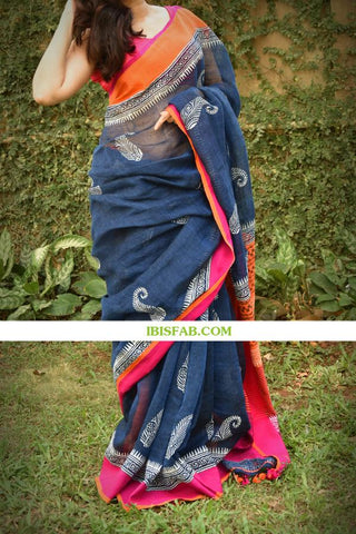 Awsome Designer Linen Printed Saree MS-1753