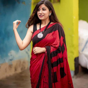 Red Color Designer Linen Printed Saree MS-1788