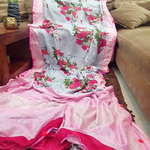 Flower Designer Linen Printed Saree MS-1859