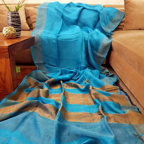 Blue Color  Designer Linen Printed Saree MS-1874
