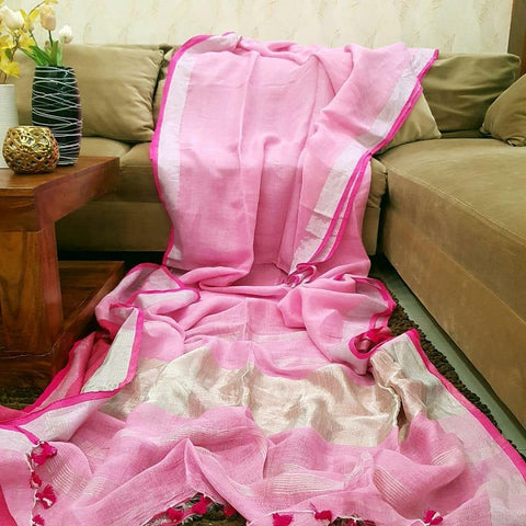 Pink Color  Designer Linen Printed Saree MS-1875