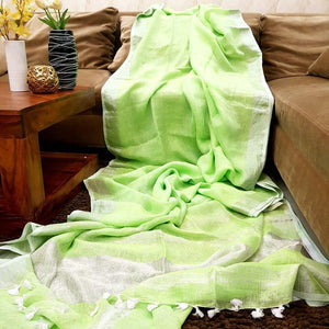 Light Green Color  Designer Linen Printed Saree MS-1878