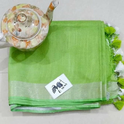 Light Green Color Designer Linen Printed Saree MS-1882