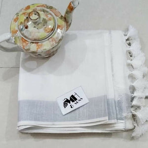 White Color Designer Linen Printed Saree MS-1885