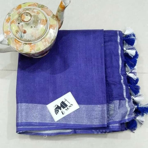 Blue Color Designer Linen Printed Saree MS-1886