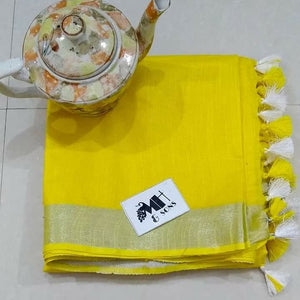Yellow Color Designer Linen Printed Saree MS-1887