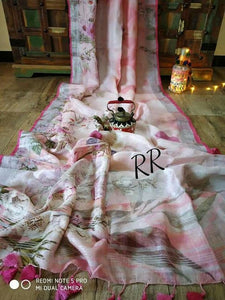 Wonderful Designer Linen Printed Saree MS-1905