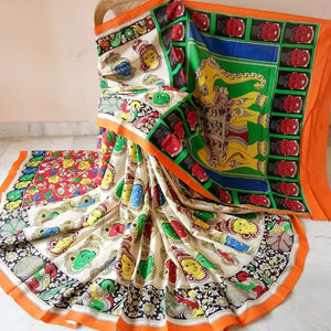Kalamkari Beautiful Designer Linen Printed Saree MS-1935