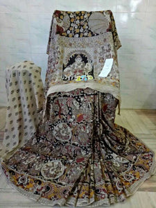 Kalamkari Latest Designer Linen Printed Saree MS-1954