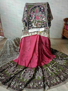 Kalamkari Designer Digital Printed Linen Saree MS-1961
