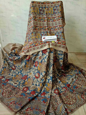 Kalamkari Designer Digital Printed Linen Saree MS-1967