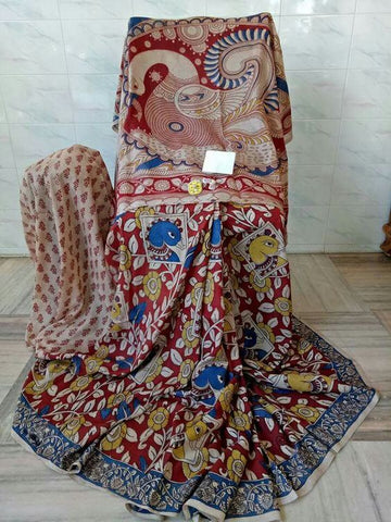 Kalamkari Designer Digital Printed Linen Saree MS-2005