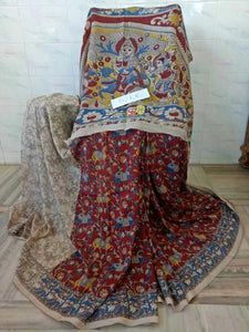 Kalamkari Designer Digital Printed Linen Saree MS-2012