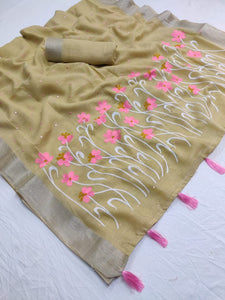 Beautiful Designer Linen Printed Saree MS-2100