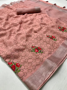 Beautiful Designer Linen Printed Saree MS-2107