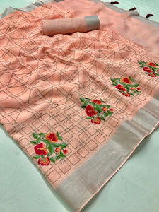 Beautiful Designer Linen Printed Saree MS-2109