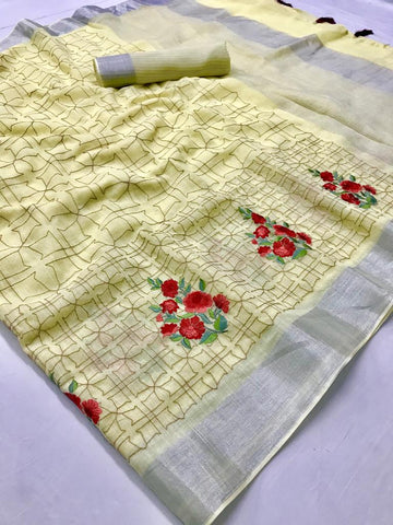 Beautiful Designer Linen Printed Saree MS-2110