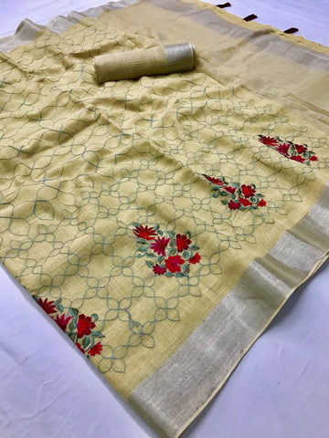 Beautiful Designer Linen Printed Saree MS-2112