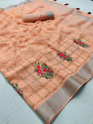 Beautiful Designer Linen Printed Saree MS-2113