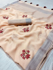 Beautiful Designer Linen Printed Saree MS-2115