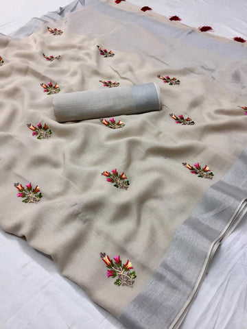 Beautiful Designer Linen Printed Saree MS-2126